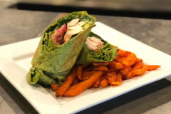Chicken Wrap & Sweet Potato Fries